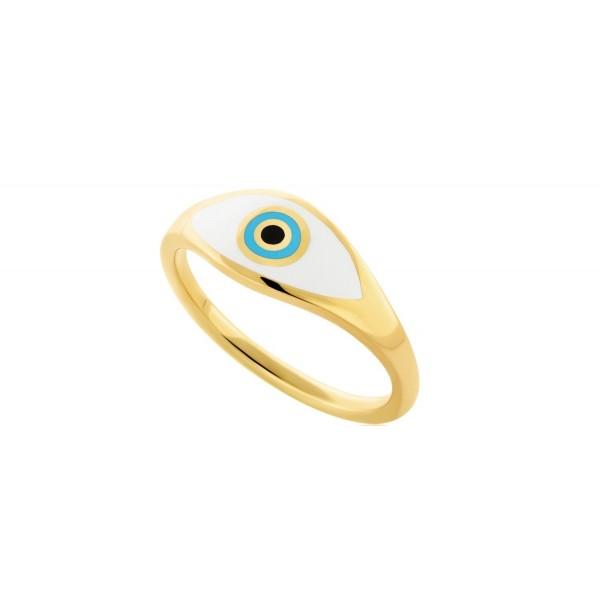 Eye δαχτυλίδι μάτι ασήμι 925° σμάλτο επιχρυσωμένο