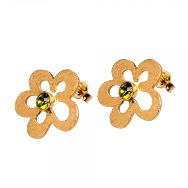 Σκουλαρίκια ασήμι 925° χειροποίητα επιχρυσωμένα πράσινο ζιργκόν