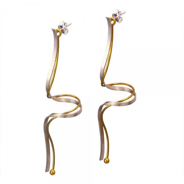 Σκουλαρίκια διπλά κρεμαστά ασήμι 925° χειροποίητα επιχρυσωμένα