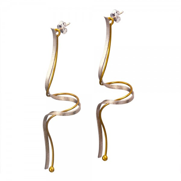 Double silver 925 earrings handmade gold plated