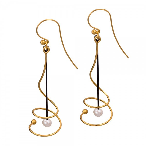Silver 925 earrings handmade gold plated oxidized pearl