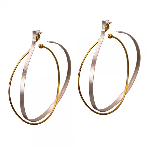 Double silver 925 hoops earrings handmade gold plated