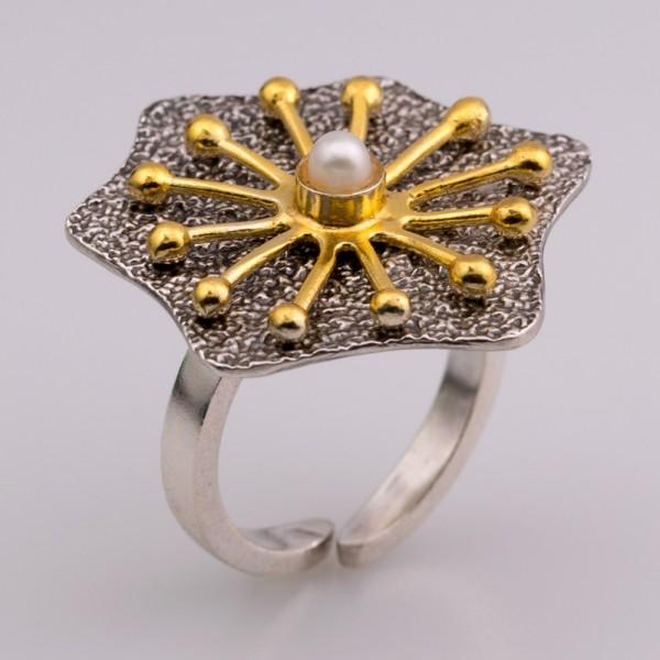 Δαχτυλίδι ασήμι 925° χειροποίητο επιχρυσωμένο οξειδωμένο σφυρήλατο πέρλα