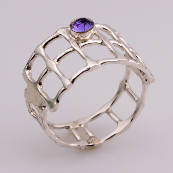 Δαχτυλίδι ασήμι 925 χειροποίητο μώβ ημιπολύτιμη πέτρα