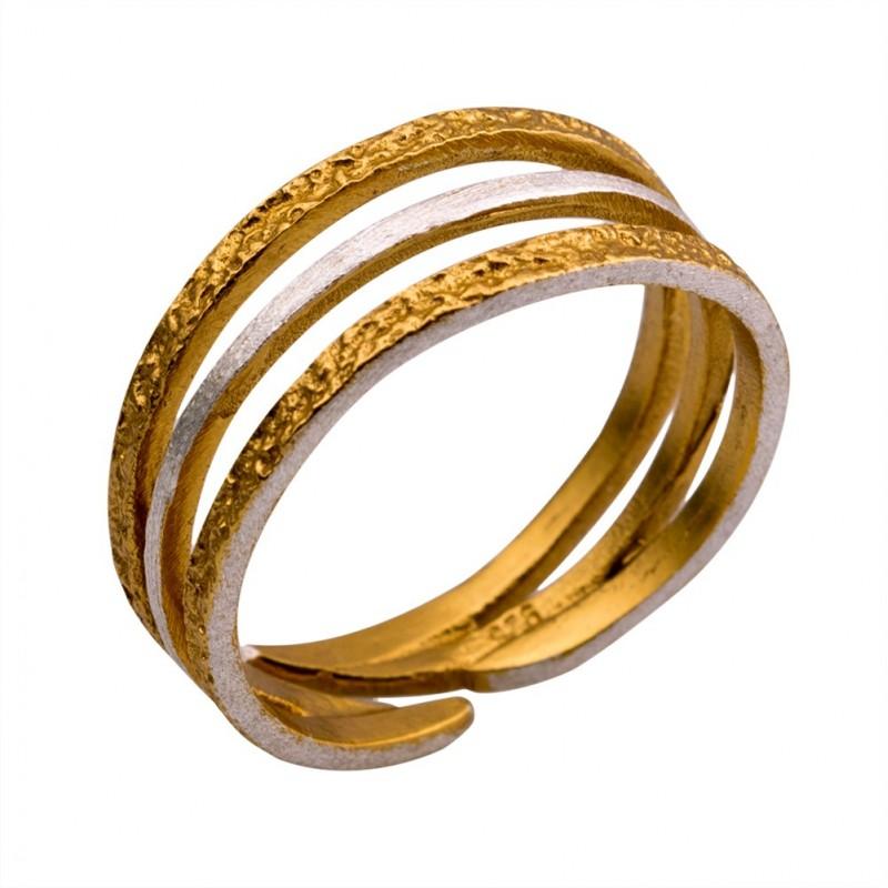 Δαχτυλίδι ασήμι 925° χειροποίητο επιχρυσωμένο σφυρήλατο