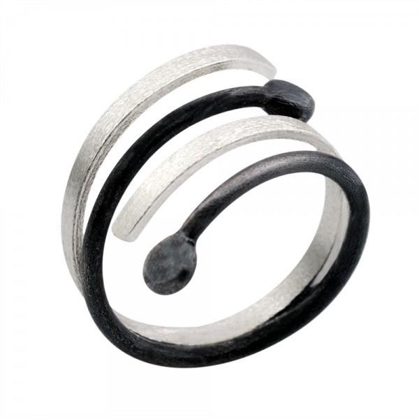 Δαχτυλίδι ασήμι 925° χειροποίητο οξειδωμένο BAT-D104B