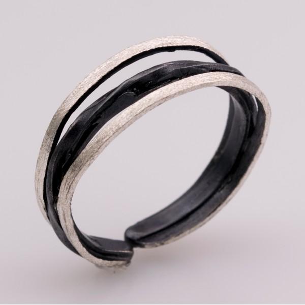 Δαχτυλίδι ασήμι 925° χειροποίητο οξειδωμένο BAT-D68B