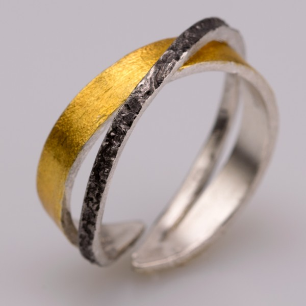 Silver 925 ring handmade gold plated oxidized forged