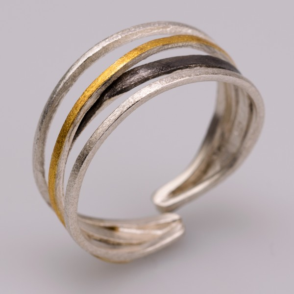 Silver 925 ring handmade gold plated oxidized