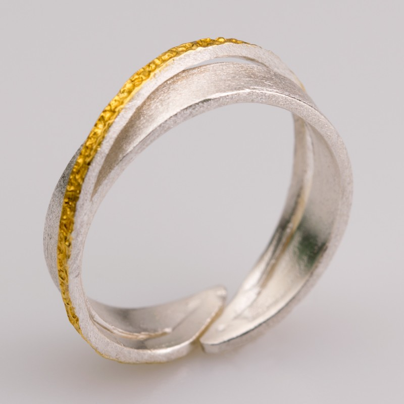 925 Gold Plated Silver Handmade Forged Ring PkZiuOXT