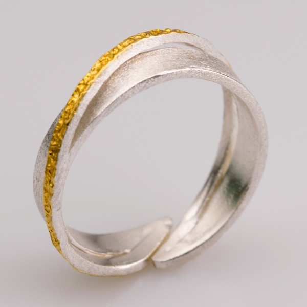 Silver 925 ring handmade gold plated forged