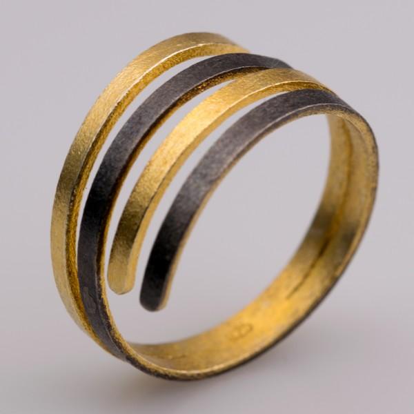 Δαχτυλίδι ασήμι 925° χειροποίητο επιχρυσωμένο οξειδωμένο