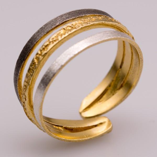Δαχτυλίδι ασήμι 925° χειροποίητο επιχρυσωμένο οξειδωμένο σφυρήλατο BAT-D73T