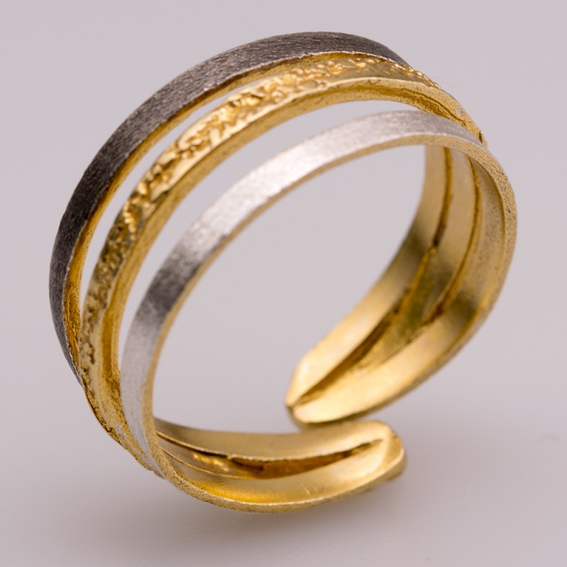 Δαχτυλίδι ασήμι 925° χειροποίητο επιχρυσωμένο οξειδωμένο σφυρήλατο