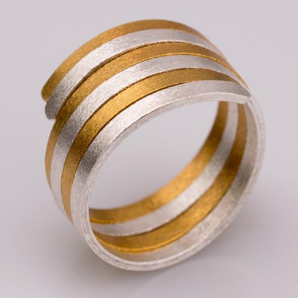 Δαχτυλίδι ασήμι 925° χειροποίητο επιχρυσωμένο BAT-D103G