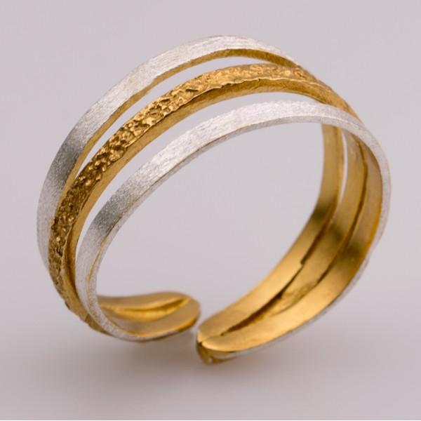 Δαχτυλίδι ασήμι 925° χειροποίητο επιχρυσωμένο σφυρήλατο BAT-D73G