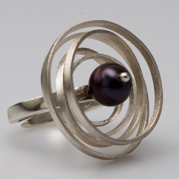 Δαχτυλίδι ασήμι 925° χειροποίητο με μαύρη πέρλα