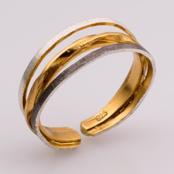 Δαχτυλίδι ασήμι 925° χειροποίητο επιχρυσωμένο οξειδωμένο BAT-D68T