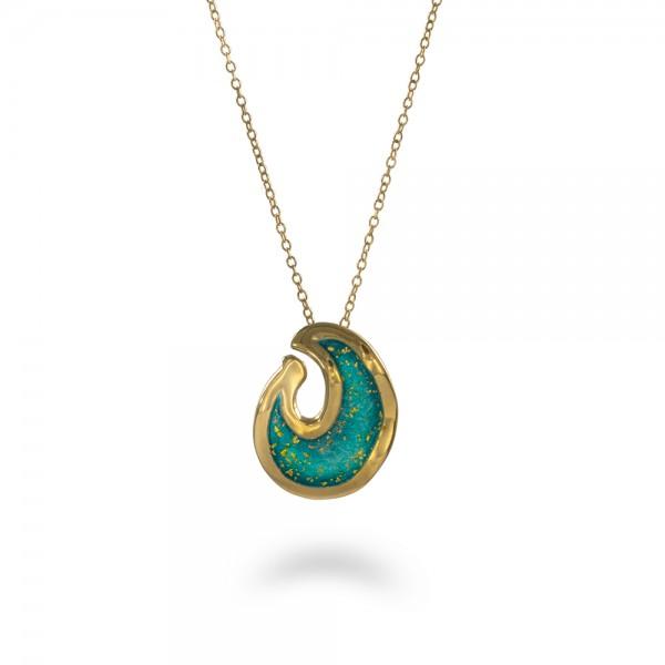 Handmade pendant silver 950 turquoise enamel KON-71MX