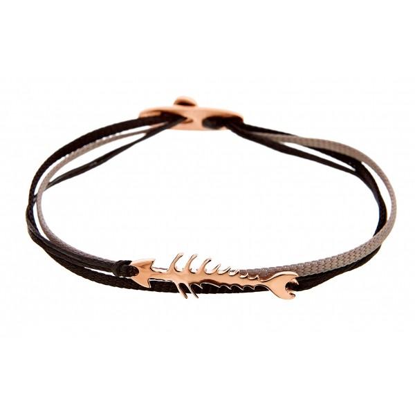 Honor Omano Fishbone Βραχιόλι ψαροκόκκαλο ασήμι 925° ροζ χρυσό HON-SB101P