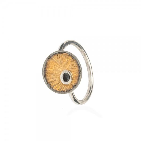 Δαχτυλίδι χειροποίητο σφυρήλατο ασήμι 950 επιχρυσωμένο και σμάλτο ανοιγοκλειόμενο KON-A60Δ