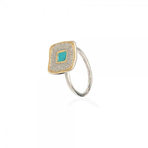 Δαχτυλίδι χειροποίητο σφυρήλατο ασήμι 950 επιχρυσωμένο και σμάλτο ανοιγοκλειόμενο KON-A70Δ