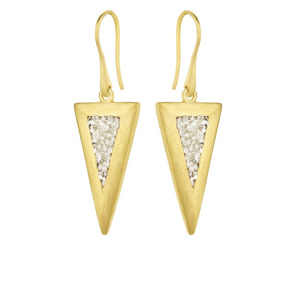 Honor Omano Large Triangle Diamond Σκουλαρίκια κρεμαστά ασήμι 925° επιχρυσωμένο με φυσικά διαμάντια HON-SDE5YW