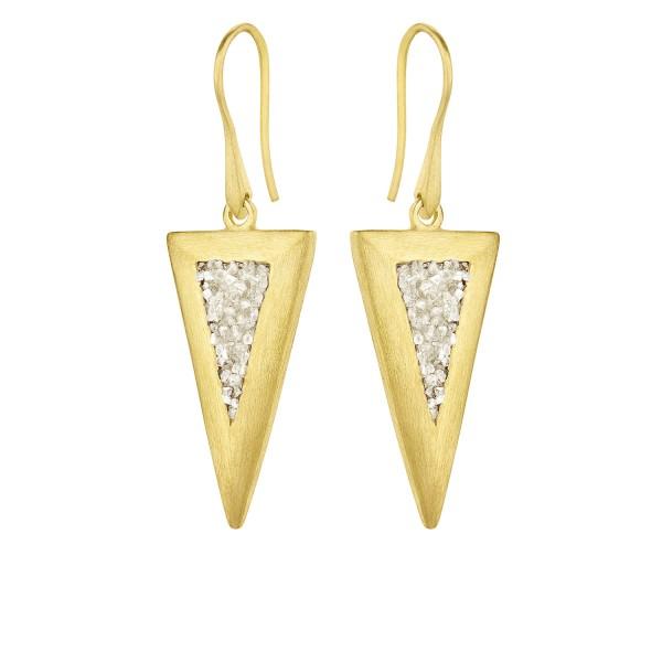 Σκουλαρίκια ασήμι 925° επιχρυσωμένο με φυσικά διαμάντια HON-SDE5YW