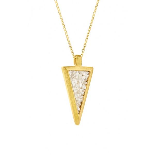 Honor Omano Small Diamond Triangle Κολιέ ασήμι 925° επιχρυσωμένο με φυσικά διαμάντια HON-SDP3YW