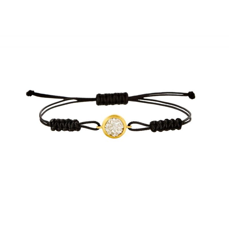 Honor Omano Diamond Circle Cord Βραχιόλι ασήμι 925° με φυσικά διαμάντια HON-SDB3YW