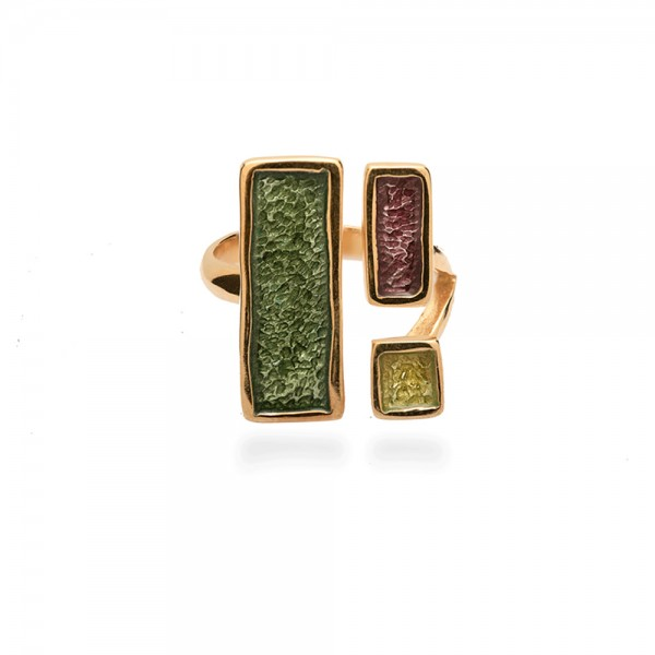Δαχτυλίδι χειροποίητο ασήμι 950 με διπλή επιχρύσωση 24Κ και σμάλτο