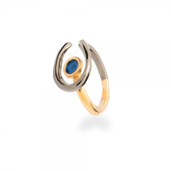 Δαχτυλίδι μάτι χειροποίητο ασήμι 950 οξειδωμένο με διπλή επιχρύσωση 24Κ και μπλε σμάλτο