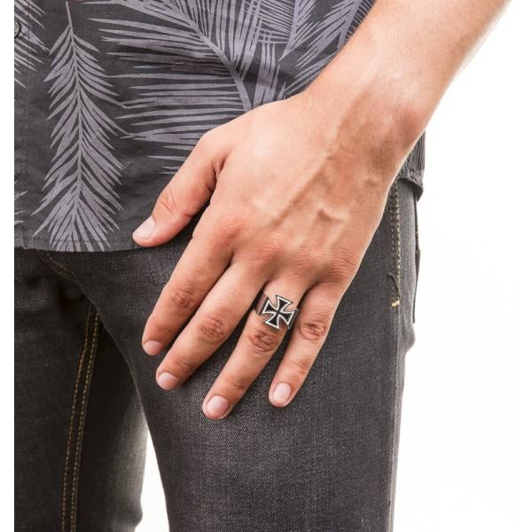 Honor Cross Ring silver 925 black enamel 3 black diamonds