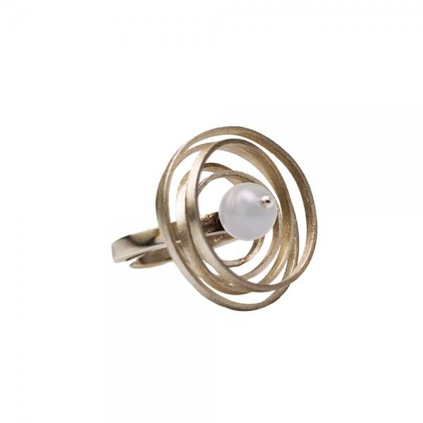 Δαχτυλίδι ασήμι 925° χειροποίητο με φυσική πέρλα