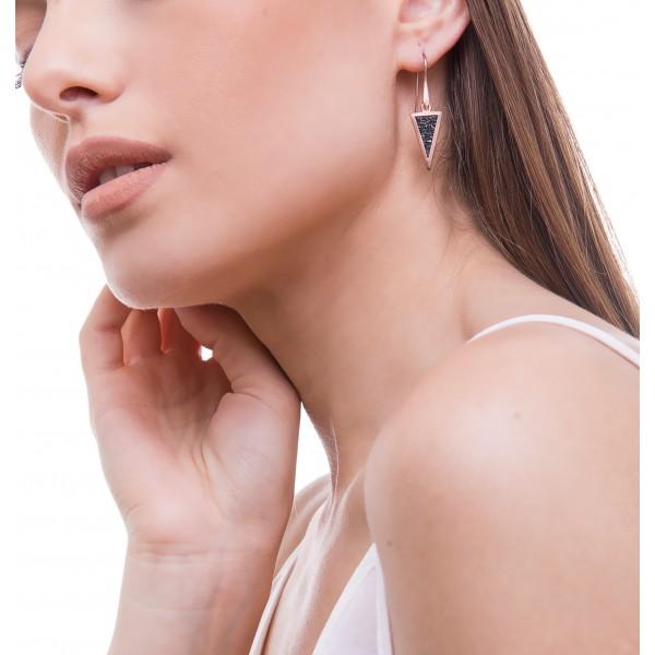 Honor Omano Small Triangle Diamond Σκουλαρίκια κρεμαστά ασήμι 925° με φυσικά διαμάντια HON-SDE4SB