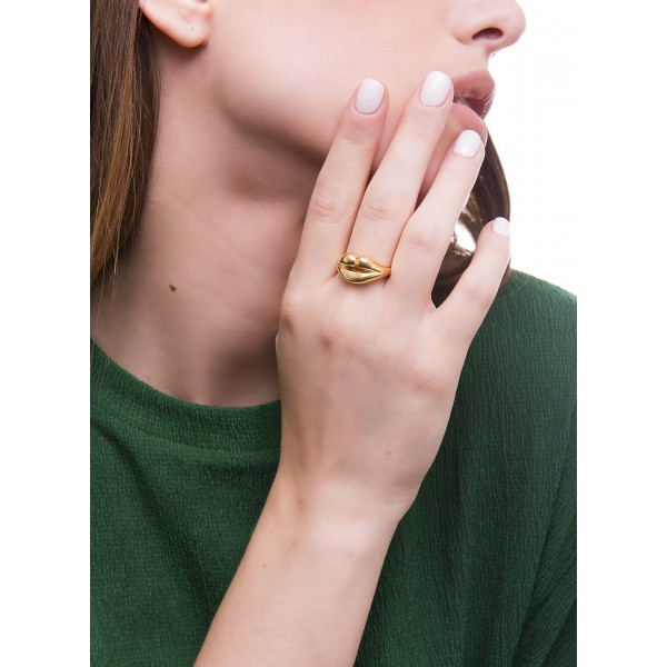 HONOR Lips Ring silver 925 gold plated