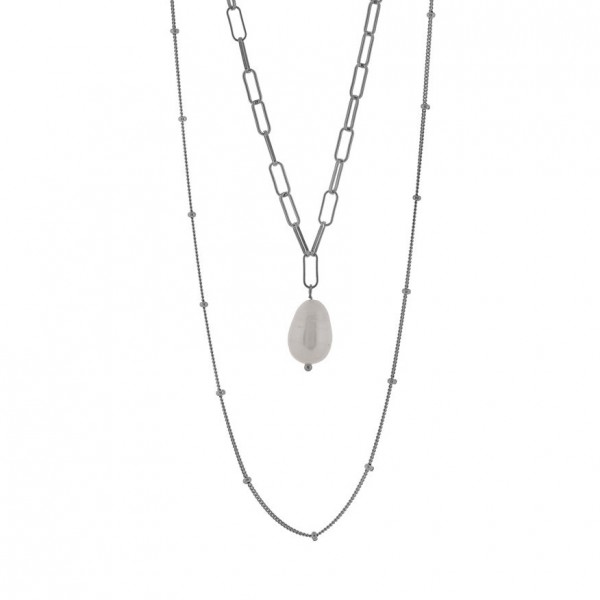Layered silver 925° platinum plated with natural pear PS/8A-KD230-1l