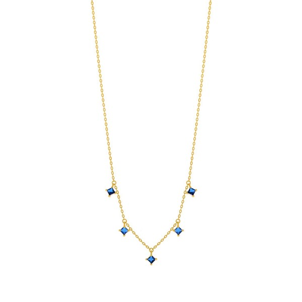 Pendant silver 925° with 14K gold plated and hunging blue zircon PS/8A-KD256-3M