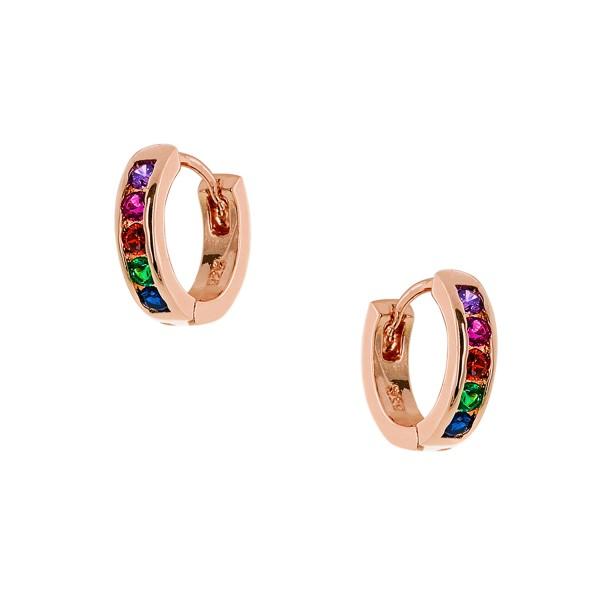 Κρικάκια Rainbow ροζ χρυσό από ασήμι 925° με πολύχρωμα ζιργκόν PS/9B-SC080-5
