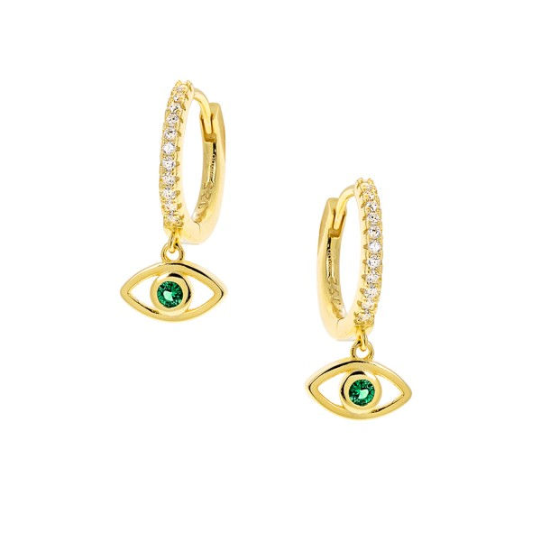 Hoops Eye silver 925° 14K gold plated white zircons PS/8Ο-SC004-3Ε