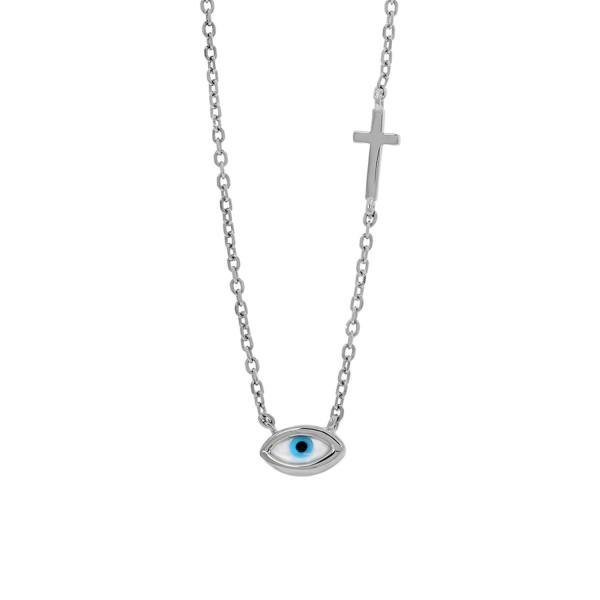 Κολιέ ματάκι σταυρός από ασήμι 925° επιπλατινωμένο PS/8B-KD025-1