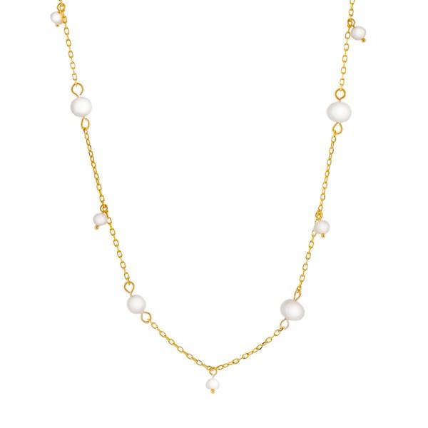 Κολιέ χρυσό από ασήμι 925° και φυσικές πέρλες PS/8A-KD231-3