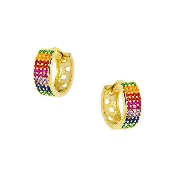 Hoops rainbow silver 925° gold plated and multicolor zircons PS/9B-SC091-5