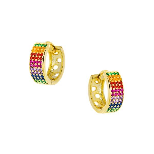 Κρικάκια Rainbow χρυσά από ασήμι 925° με πολύχρωμα ζιργκόν PS/9B-SC091-5