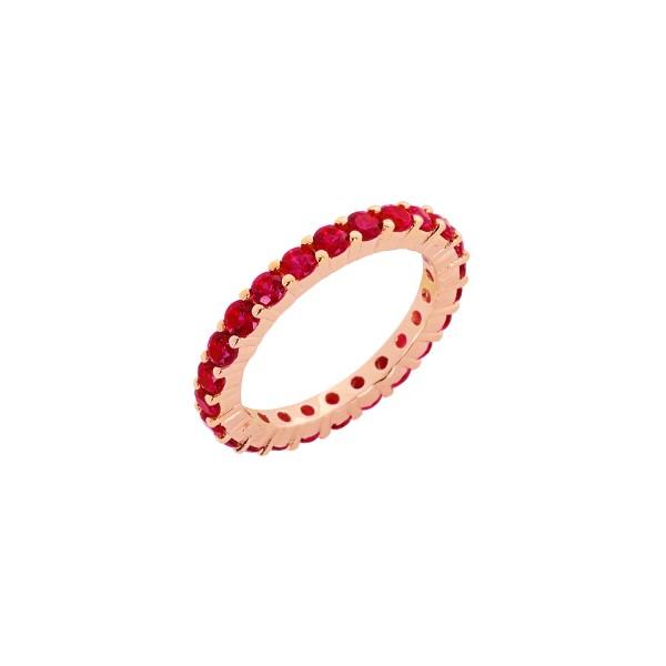 Δαχτυλίδι ολόβερο ροζ χρυσό ασήμι 925° ροζ ζιργκόνPS/9B-RG062-2R