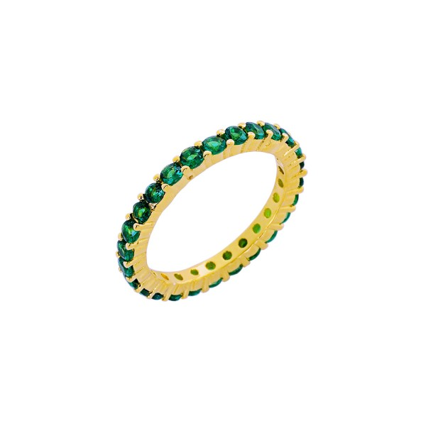 Δαχτυλίδι χρυσό ολόβερο ασήμι 925° πράσινα ζιργκόν PS/9B-RG062-3E