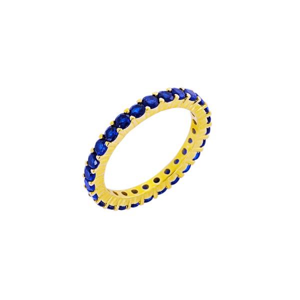 Δαχτυλίδι χρυσό ολόβερο ασήμι 925° μπλε ζιργκόν PS/9B-RG062-3M