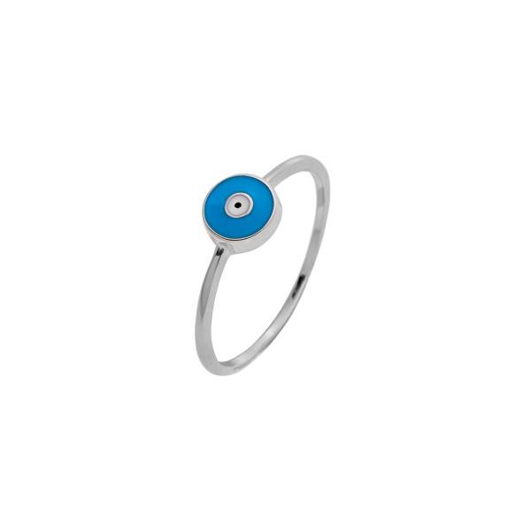 Δαχτυλίδι ματάκι ασήμι 925° τυρκουάζ σμάλτο PS/8A-RG085-1Q