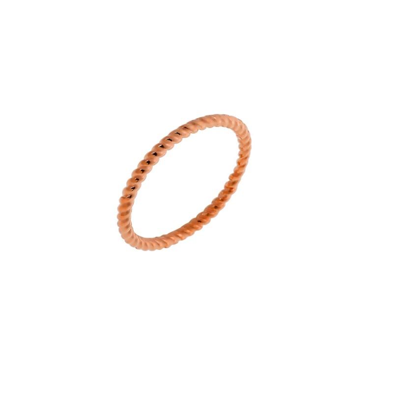Δαχτυλίδι ροζ χρυσό βεράκι στριφτό από ασήμι 925° PS/9A-RG0039-2