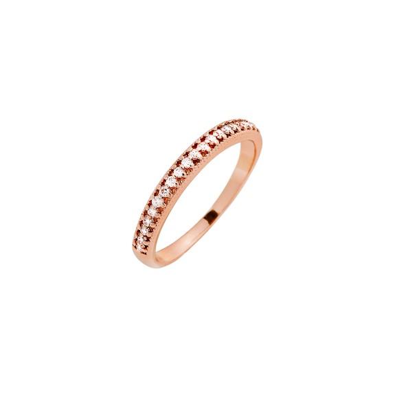 Δαχτυλίδι ροζ χρυσό βεράκι ασήμι 925° με ζιργκόν PS/8A-RG102-2